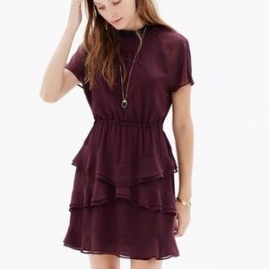 Madewell purple ruffle dress